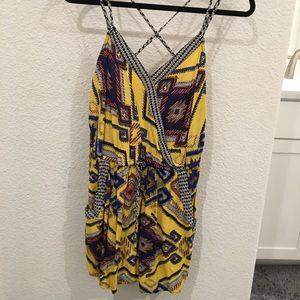 Yellow Tribal Printed Romper